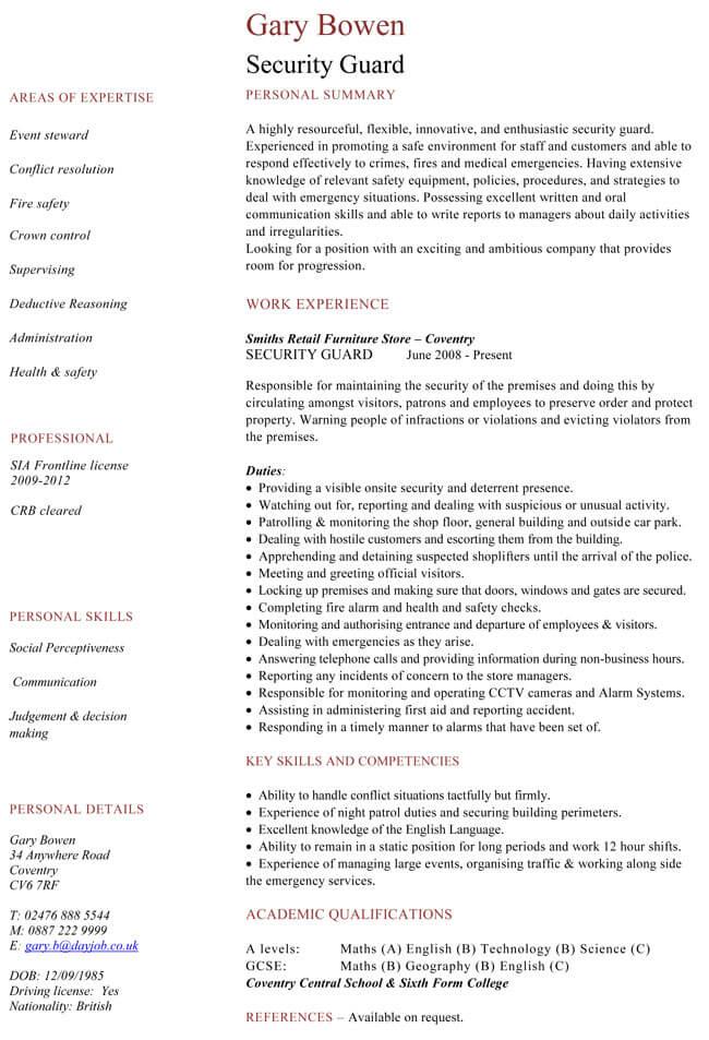 Security Guard CV Template
