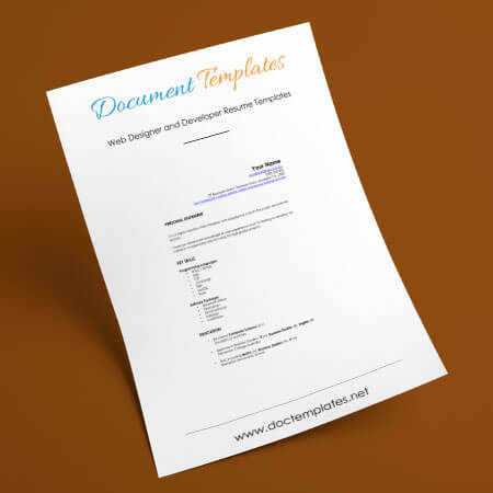 Web Designer and Developer Resume Templates