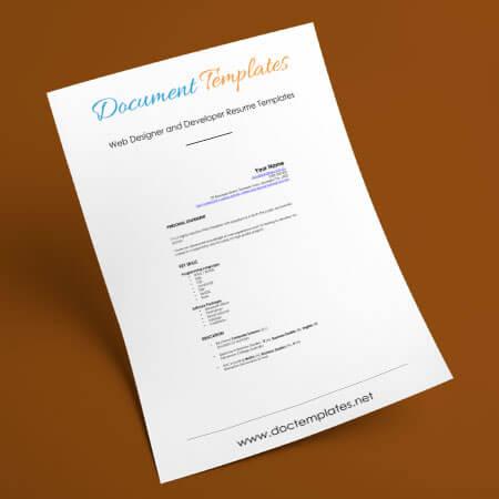 Web Designer and Developer Resume Templates