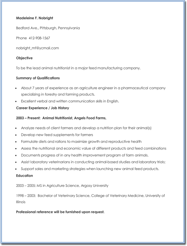 Agriculture Pharmaceutical Specialize Resume Example