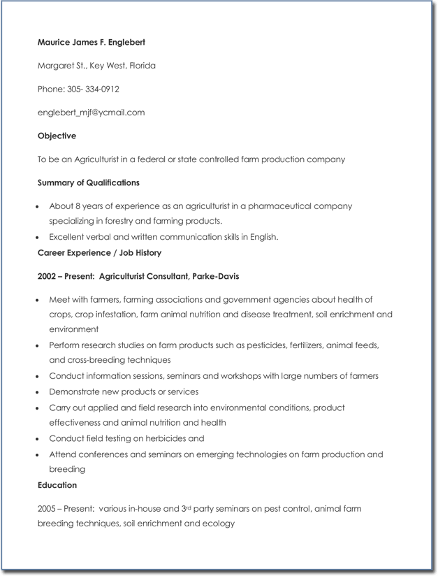20 Agricultural Cv And Resume Templates Best Samples