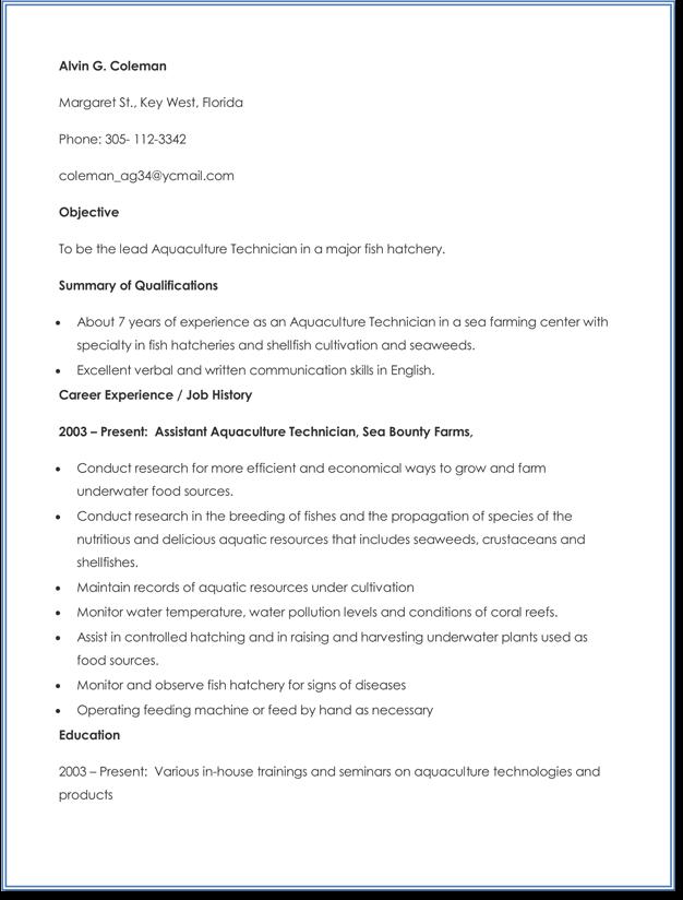 Aquaculture-Technicians-Resume-Sample