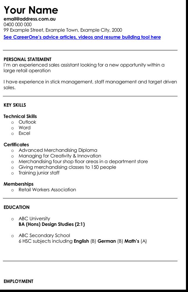 Retail Sales Assistant CV Template