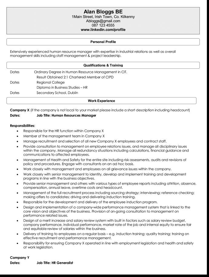 Sample HR CV