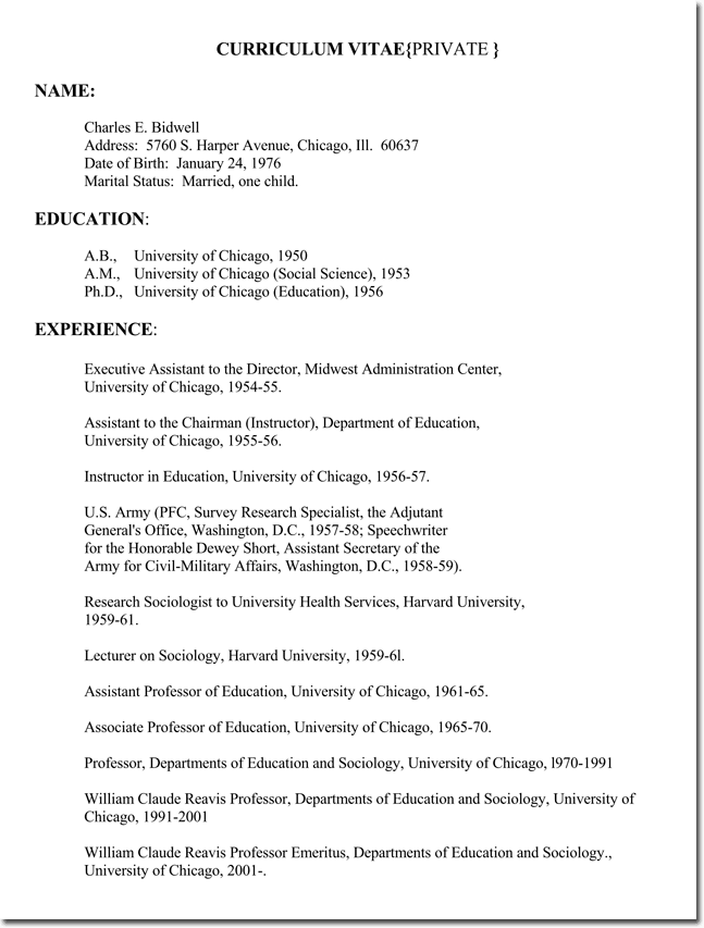 Sample Resume for teachers without experiance