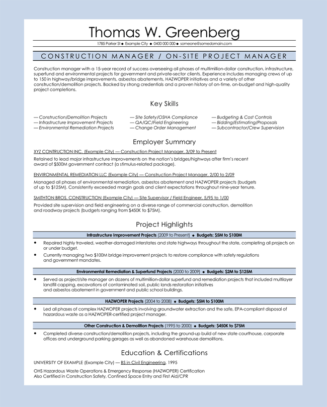 Construction Manager CV Sample