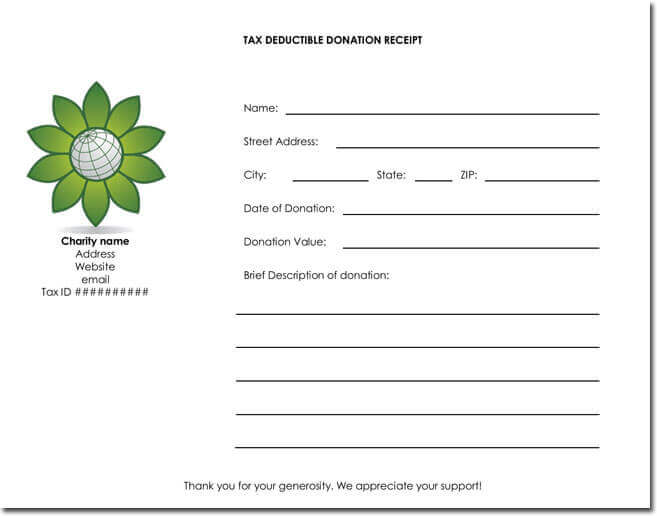 Donation receipt template with Tax deduction