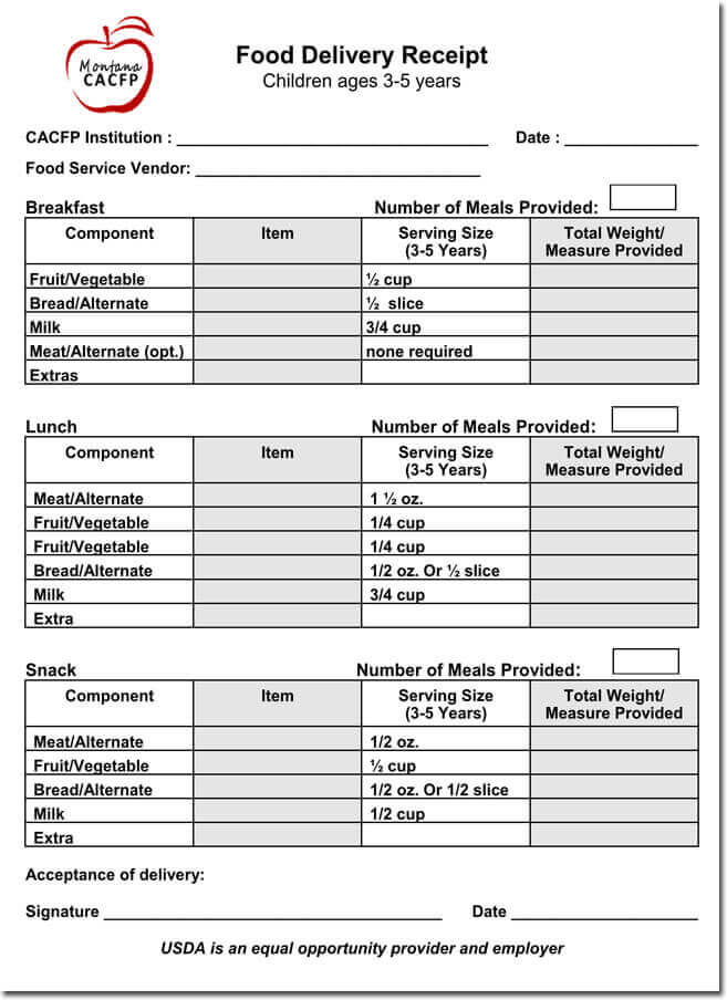 Food Products Delivery Receipt Templates