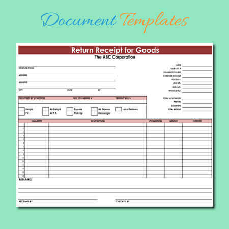 Goods Return Receipt Templates for Excel