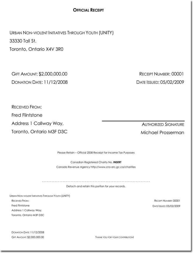 General tax receipt template free download