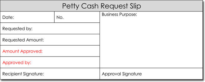 Petty Cash Request Slip Template Word Free Download