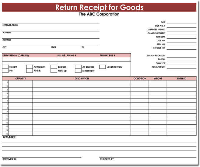 Goods Return Receipt Template 01