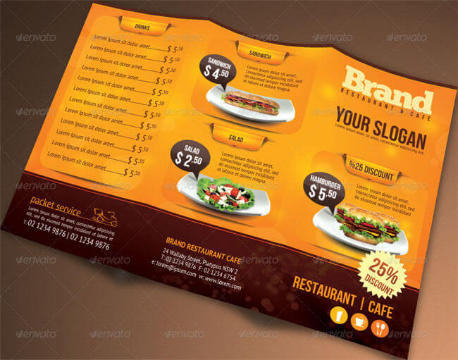 Tri-fold American Style Restaurant Menu Templates Download