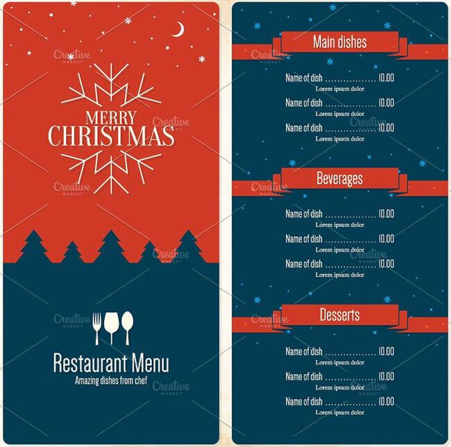 2 color tone christmas menu design