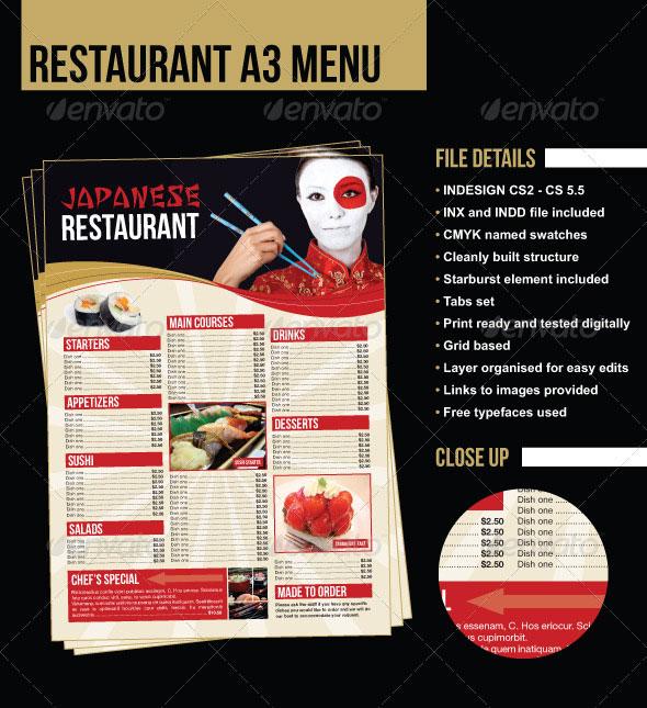 A3 Japanese Restaurant Menu
