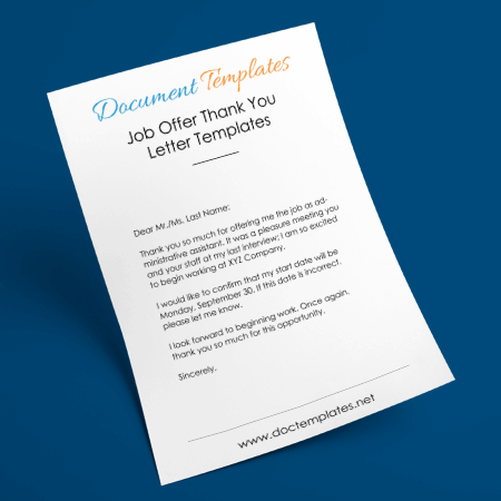 Job Offer Thank You Letter Templates