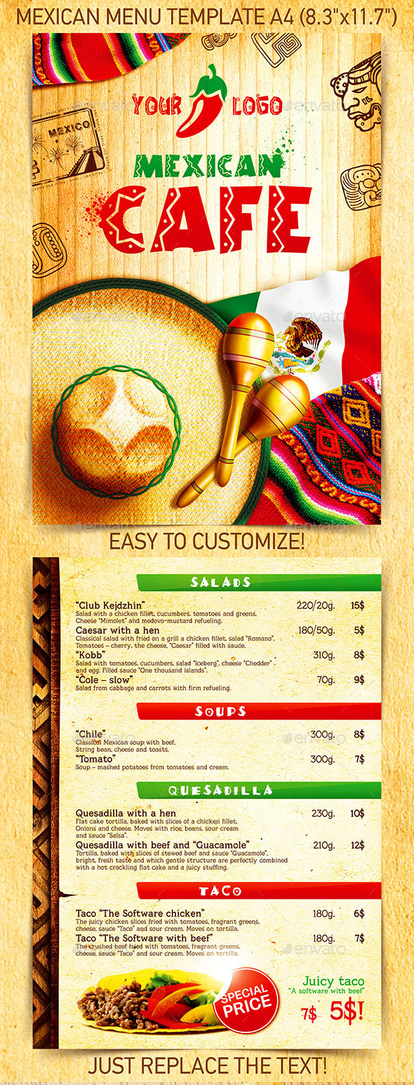 Best Mexican Menu Template