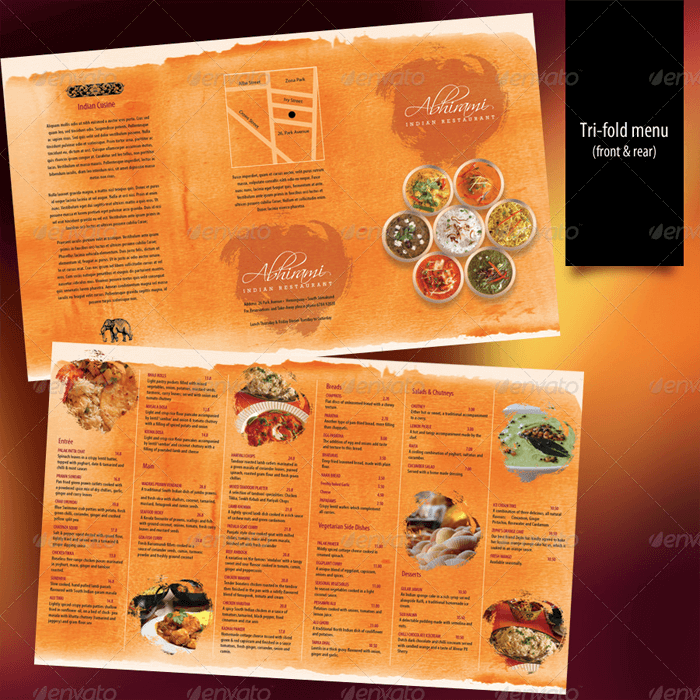Bi-Fold Indian Food Menu Template PSD