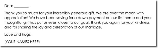 Cash Gift for Wedding Thank You Note Sample