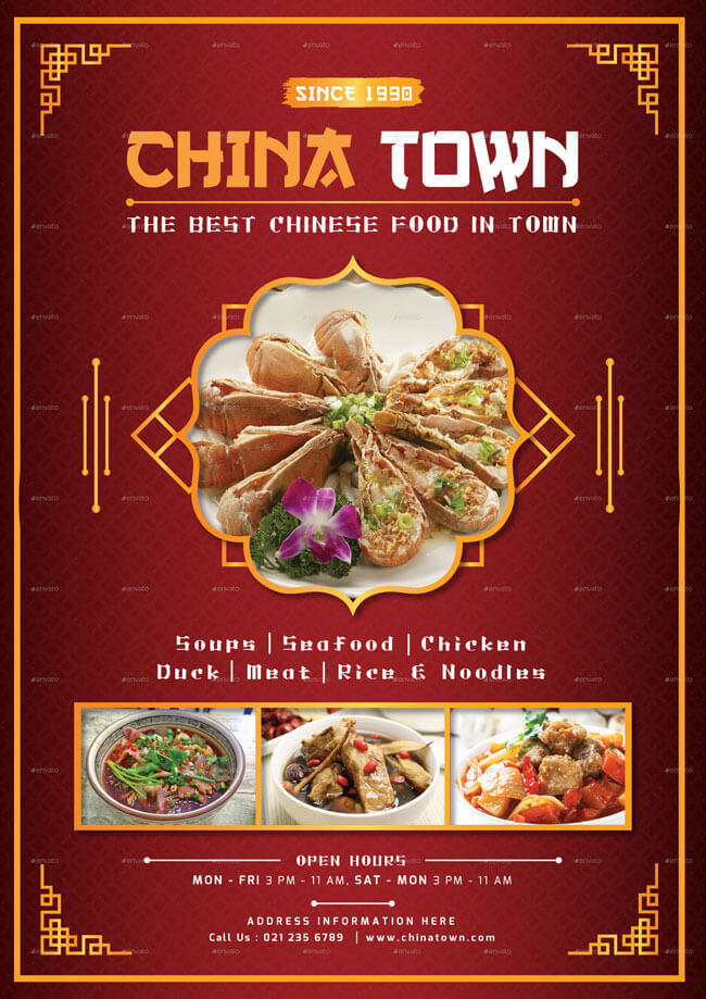 China Town Restaurant Menu Template