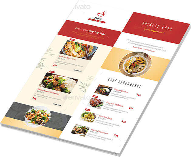 Chinese Restaurant Menu Designs