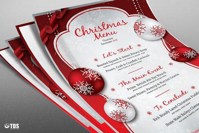 Christmas Menu Design in Red