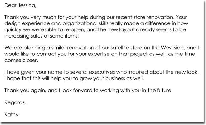 corporate thank you letter example