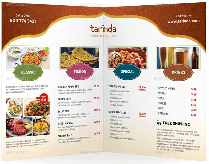 Indian Style Restaurant Menu Templates - Single, Bi-Fold, Tri-Fold