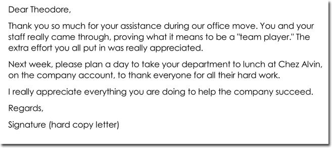 Employee Thank You Letter Example