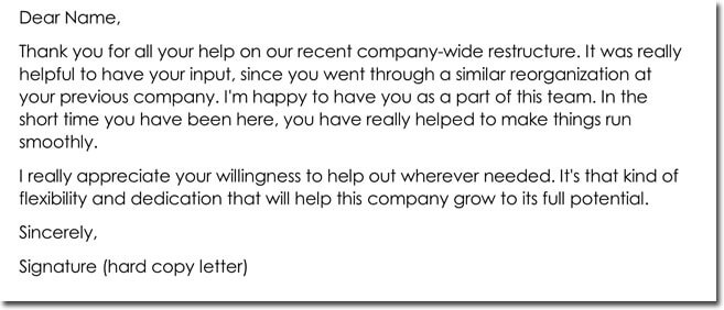 Employee Thank You Letter Format