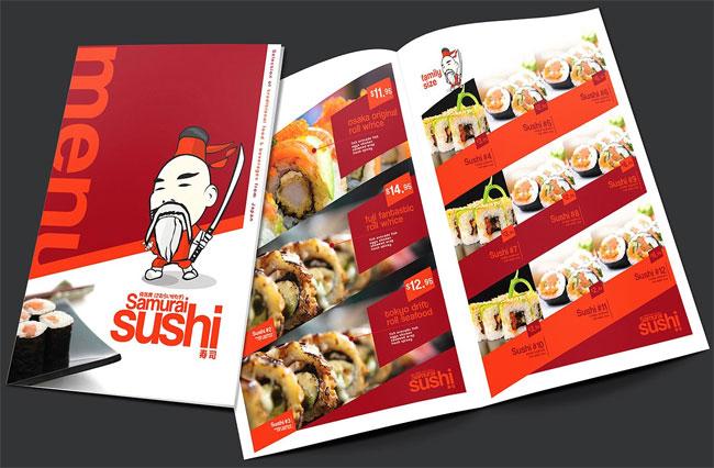 Folding A3 Sushi Menu Template