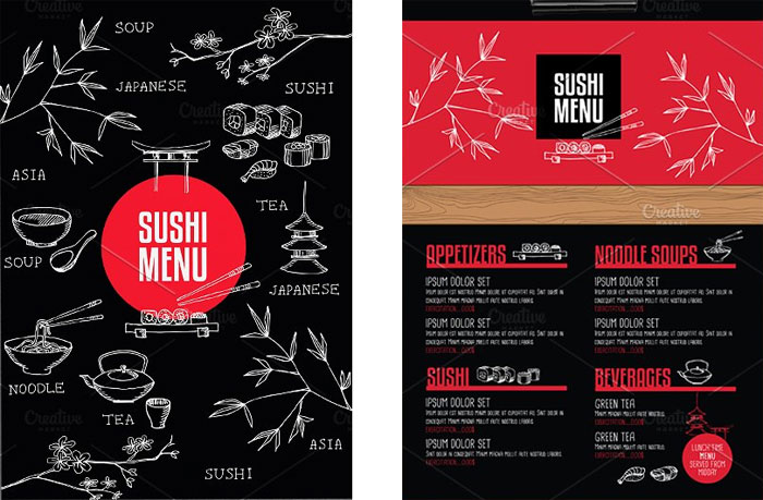 Food menu, restaurant flyer
