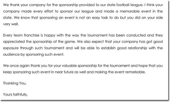 football league sponsorship thank you letter template - Thank You Template Letter