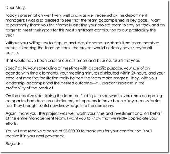Formal Employee Thank You Letter Example