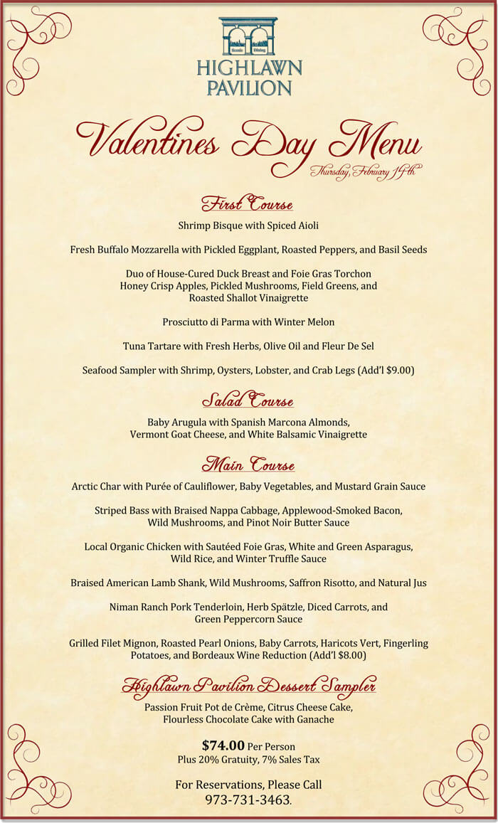 valentine u0026 39 s day menu templates