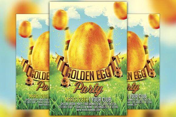 Golden Egg Easter Party Flyer