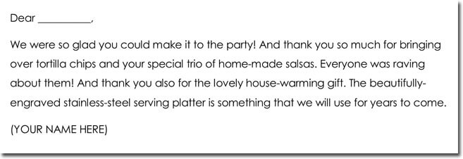 House Warming Gift Thank You Note Example
