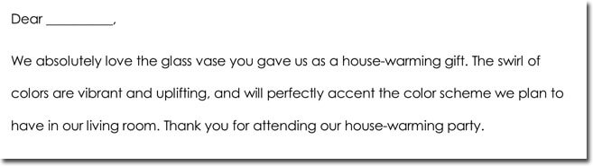 House Warming Thank You Letter Wording