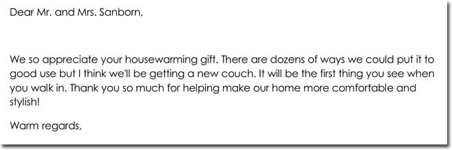 Housewarming Gift Thank You Letter Template