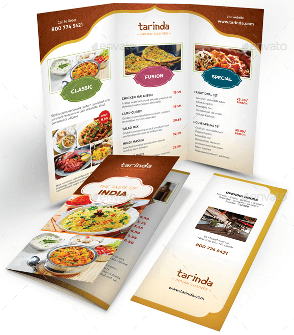 Indian Style Restaurant Menu Templates Single Bi Fold Tri Fold