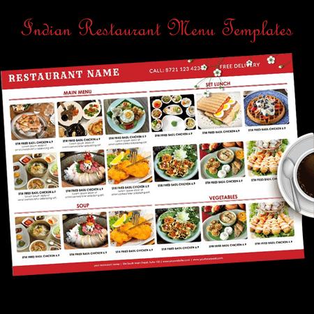 Indian Style Restaurant Menu Templates