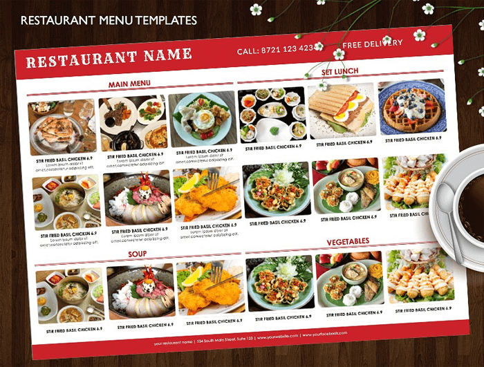 Indian Style Restaurant Menu Templates - Single, Bi-Fold, Tri-Fold
