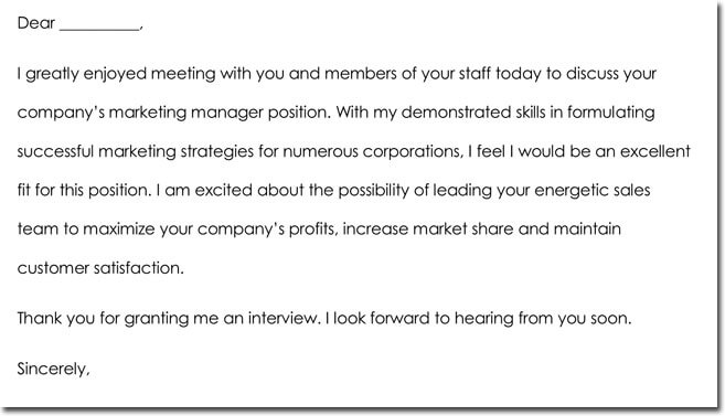 Interview Thank You Letter Wording Sample