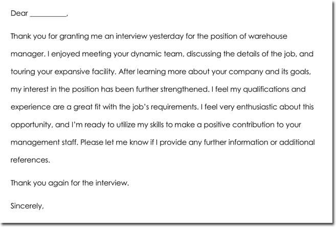 interview thank you note sample