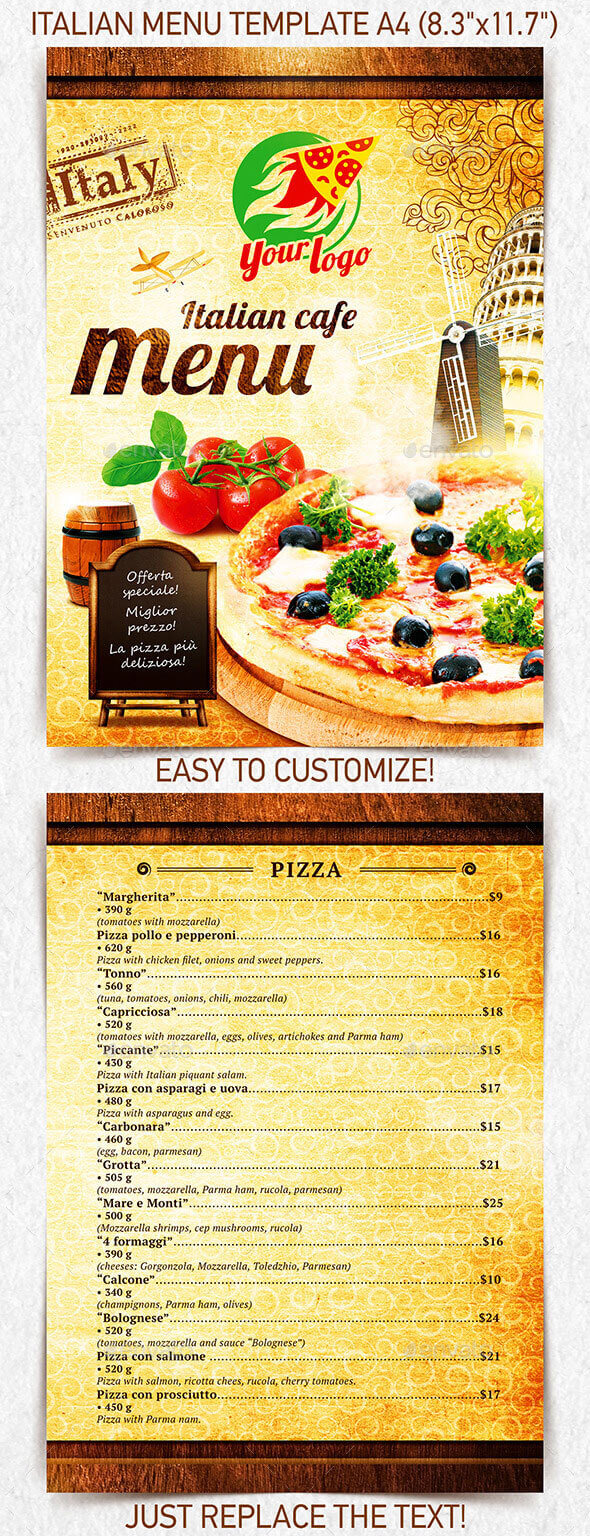 Italian restaurant menu templates best selling designs
