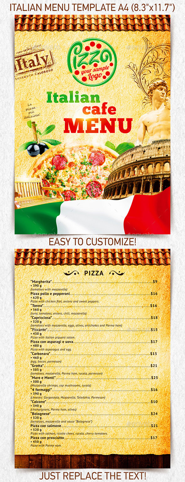 Italian Cafe Menu Food Template