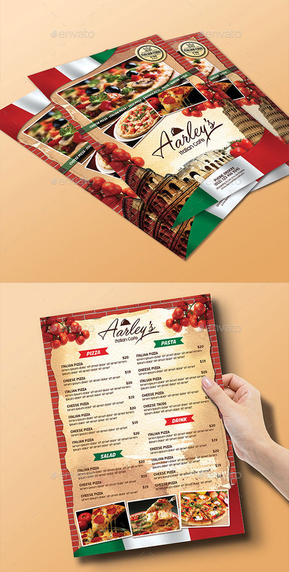 Italian Food Menu Flyer Bi-Fold