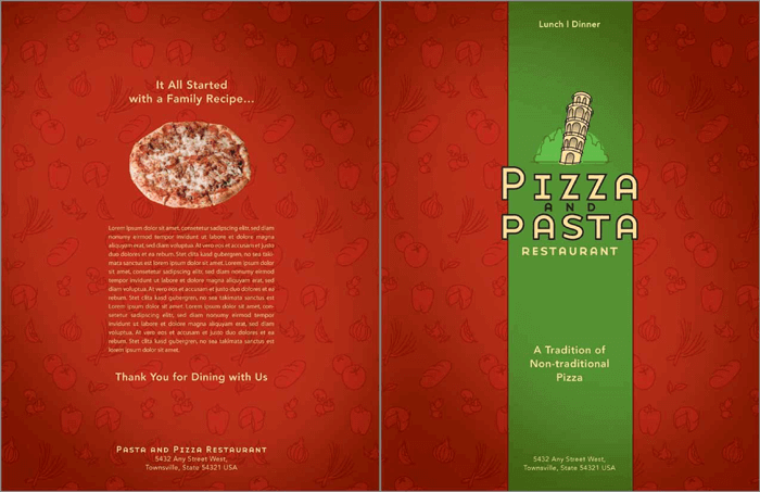 Pizza and Pasta Italian Restaurant Menu Templates