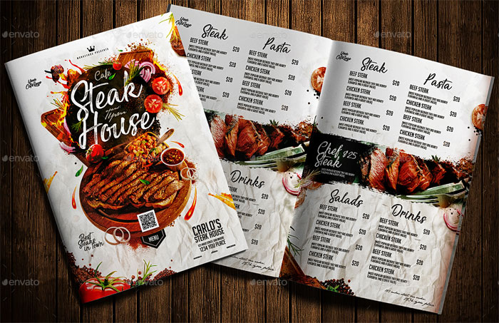 Italian Steak House Menu Design Template