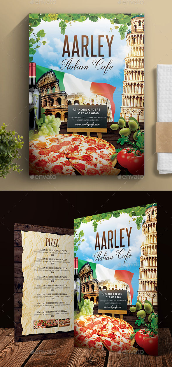 Italian Theme Cafe Menu Design Template Download